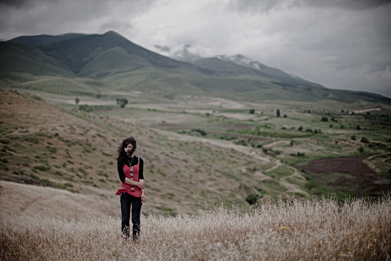 """Karen Mirzoyan, """"Melena Avagimyan, age 16, student. Her father Samvel died at the age of 24 on this place in the Askeran mountains"""" from Karabagh War Series, Chapter 3: The Future (2010)"""