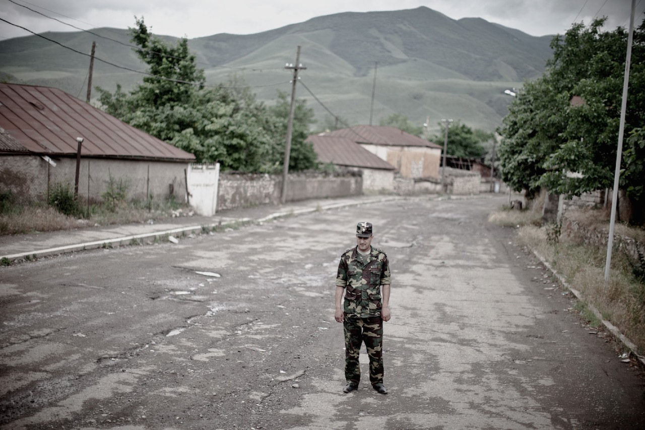 """Karen Mirzoyan, """"Nelson Sargsyan, now in the army service. His father Valerik died on this place in the town of Askeran,"""" from Karabagh War Series, Chapter 3: The Future (2010) (courtesy Anna Gargarian) (click to enlarge)"""
