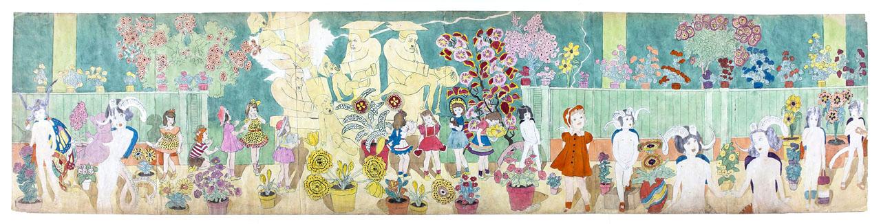 """Henry Darger (1892-1973). """"Statues strangling children"""". Crayon, décalque et aquarelle sur papier, 1910-1970. Dimensions : 61 x 273 cm"""
