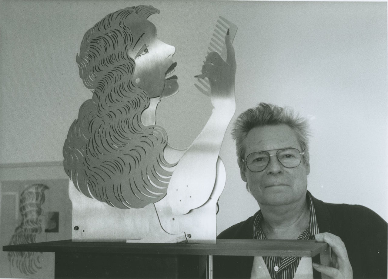"""Stephan von Huene in 1997 his sculpture, """"The New Lore Ley"""" (1990) (image via Wikipedia) (click to enlarge)"""