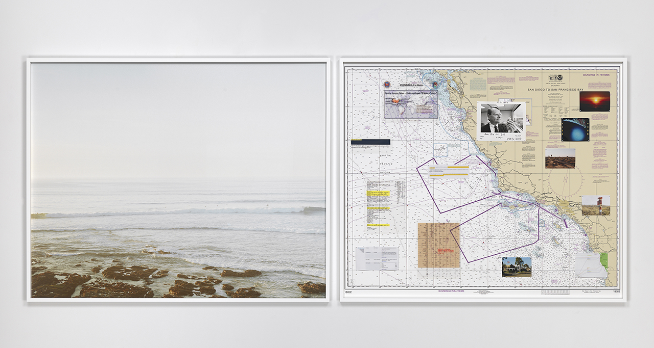 """Trevor Paglen, """"NSA-Tapped Fiber Optic Cable Landing Site, Morro Bay, California, United States"""" (2015), c-print and mixed media on navigational chart (click to enlarge)"""