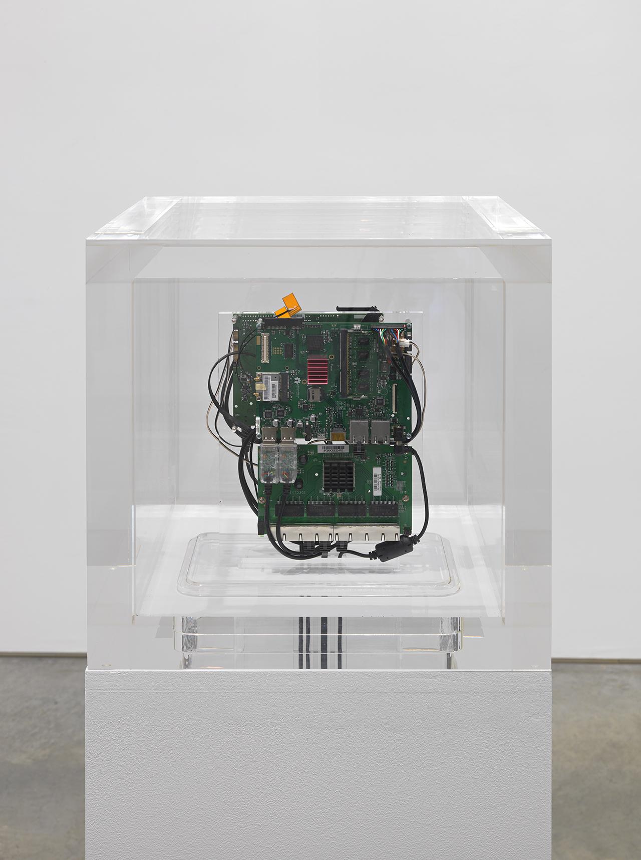 "Trevor Paglen, ""Autonomy Cube"" (2015), plexi box with computer components"