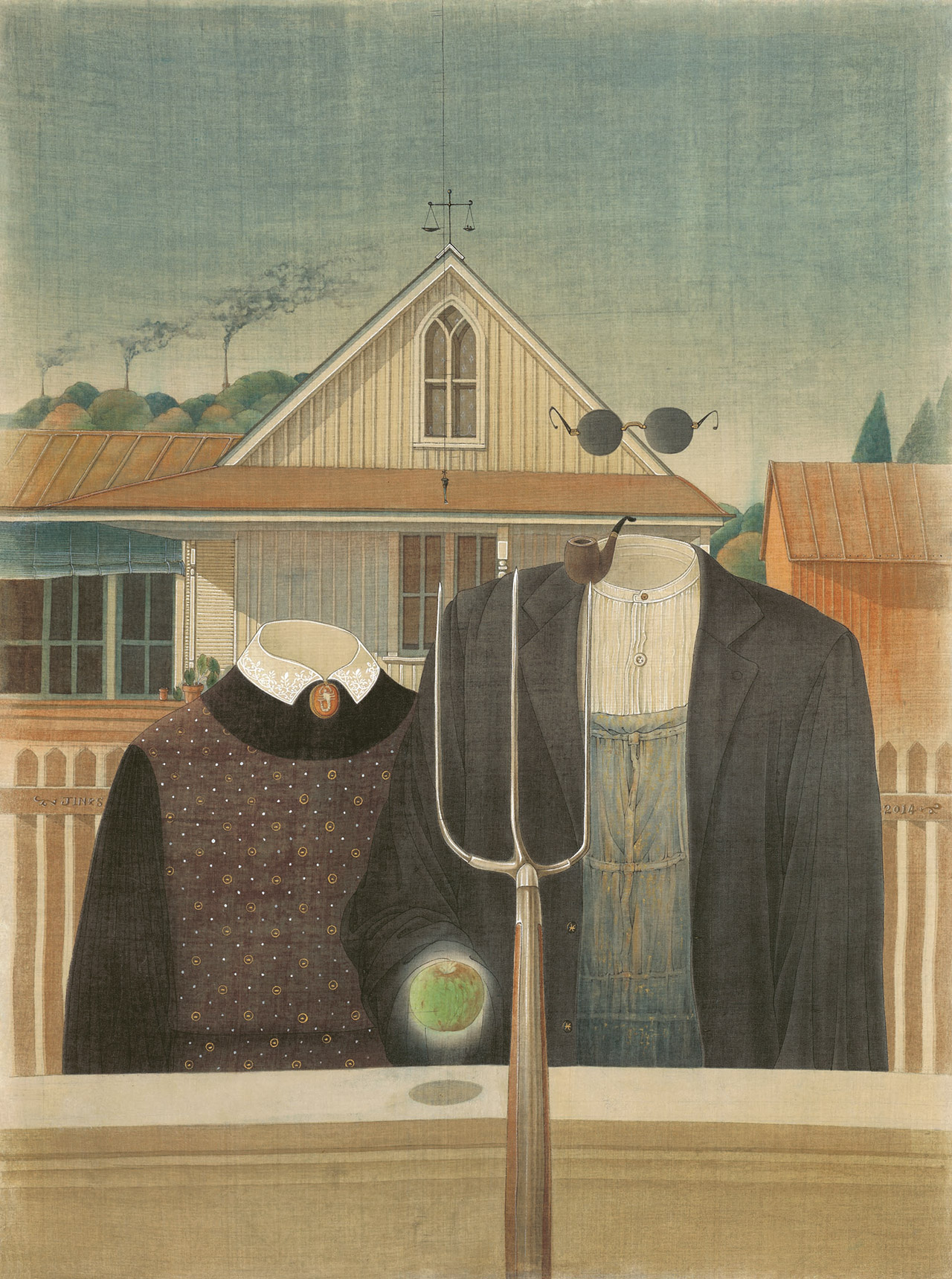 """Jin Sha, """"Salute to Masters: Conversation with Grant Wood"""" (2014), ink and color pigment on silk"""