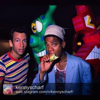 Basquiat with a burger, via Kenny Scharf's Instagram