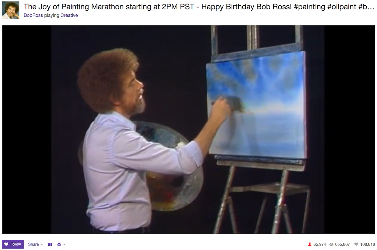 The Bob Ross, 'Joy of Painting' marathon on Twitch Creative (all screenshots by the author)