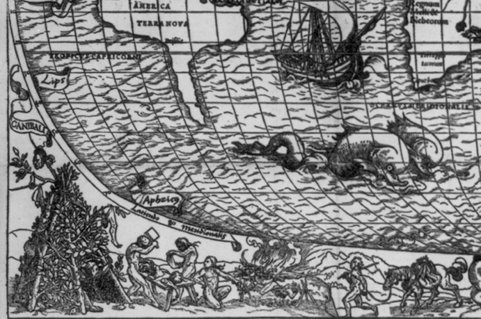 Detail of cannibals in the New World on Sebastian Münster's 'Typus Cosmographicus Universalis' (1532) (via Library of Congress)