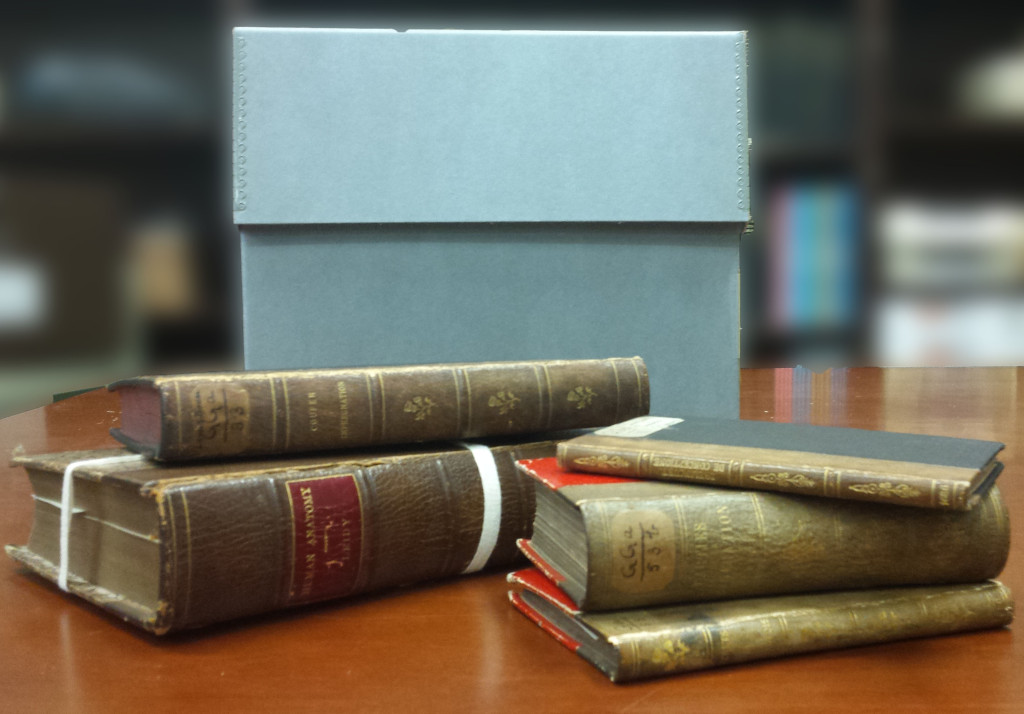Books bound in human skin (courtesy the College of Physicians of Philadelphia)