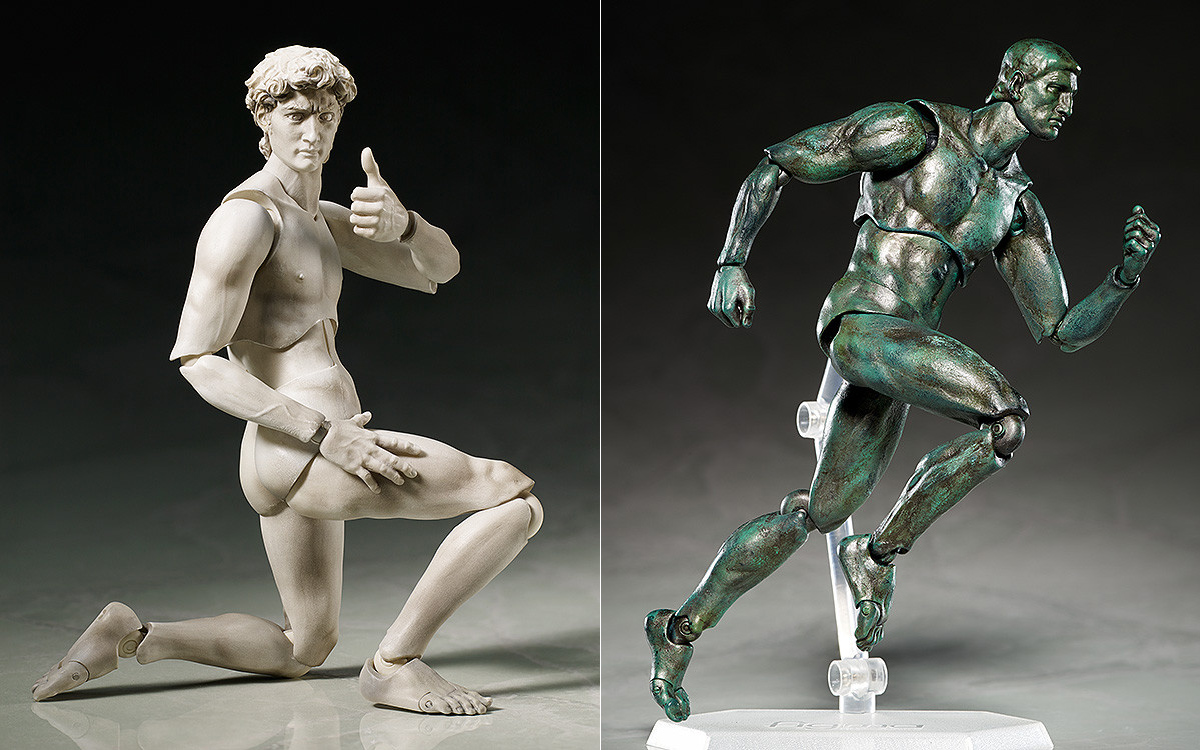 """FREEing's """"David"""" and """"The Thinker"""" action figures (all images via Good Smile Company)"""