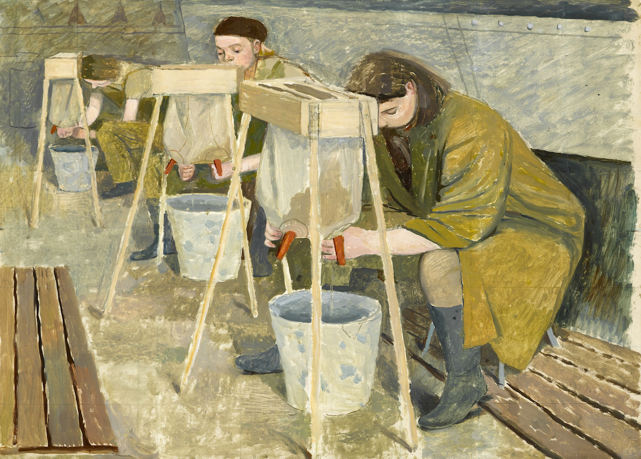 Evelyn Dunbar, Milking Practice with Artificial Udders, 1940, oil on canvas, © The Artist's Estate, courtesy of Liss Llewellyn Fine Art