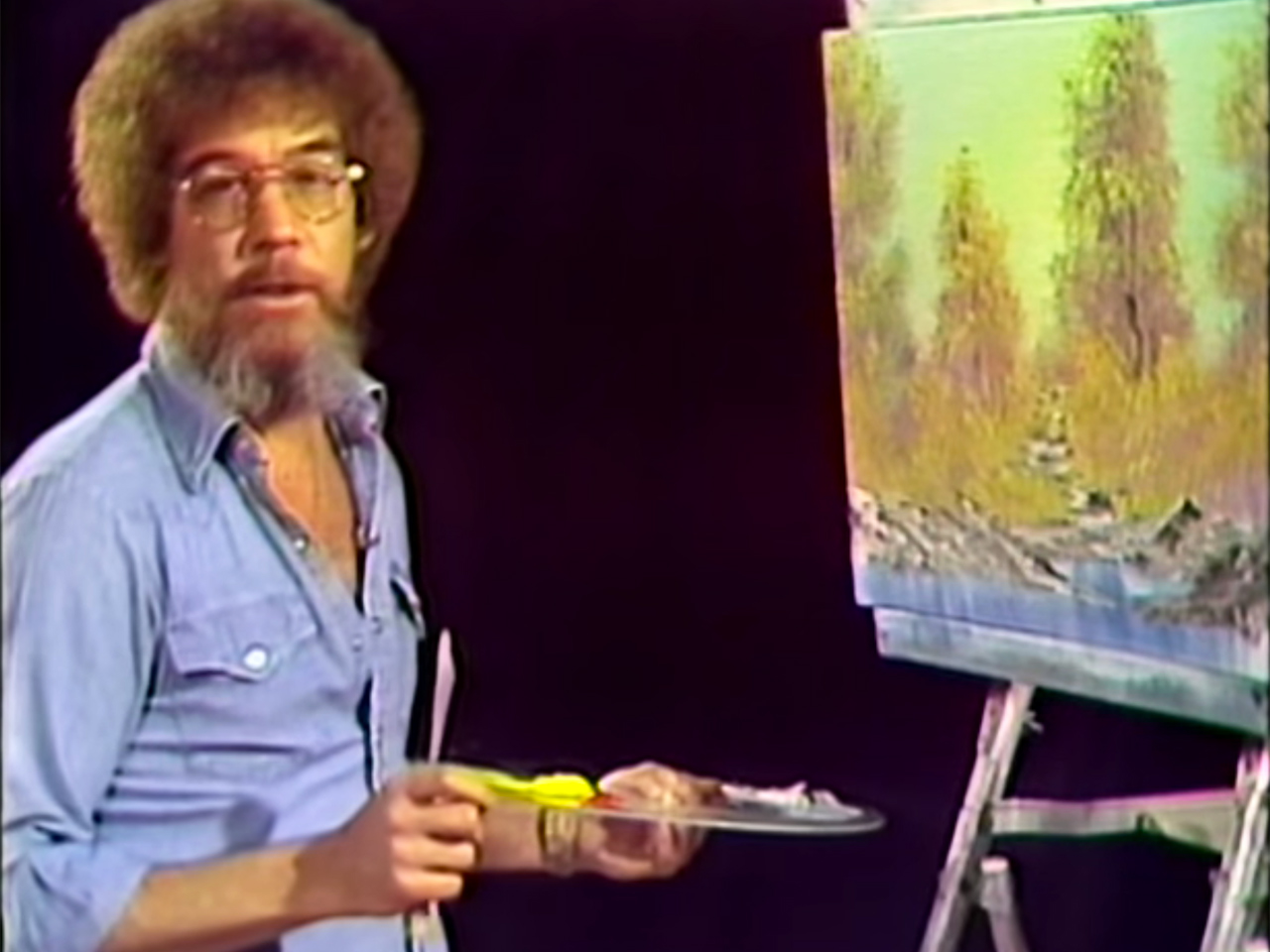 "Still from the first episode of 'The Joy of Painting' with Bob Ross (screenshot via <a href=""https://www.youtube.com/watch?v=oh5p5f5_-7A"" target=""_blank"">YouTube</a>)"