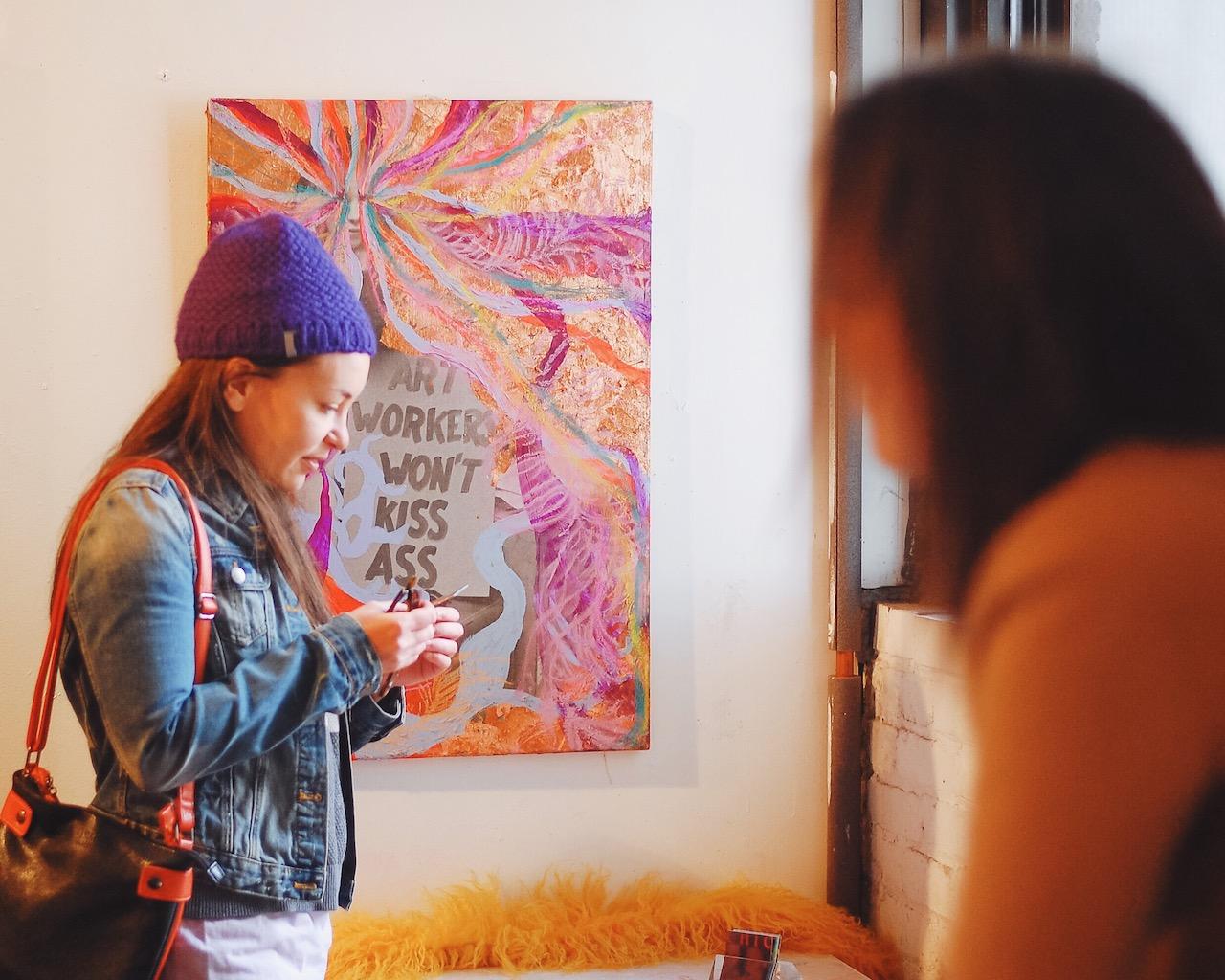 Visitors in Alex Nuñez's studio during Gowanus Open Studios 2015