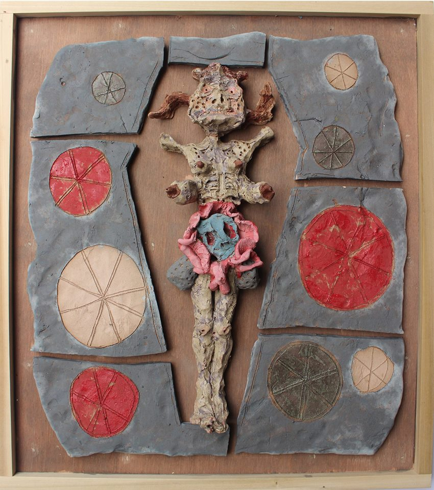 """Richard Hawkins, """"Priestess of the Sun, contained"""" (2015), ceramic in artist's frame, 22.75 x 25.75 x 4 inches (via facebook)"""