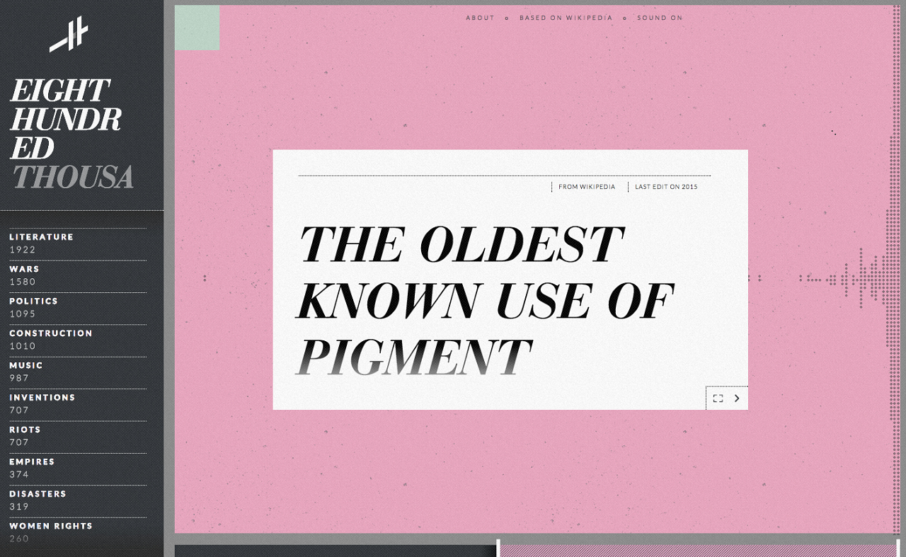 """The Wikipedia entry for """"The Oldest Known Use of Pigment"""" on Histography"""