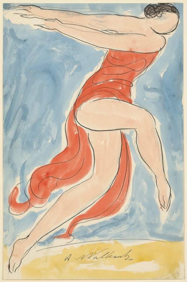 Abraham Walkowitz, watercolor of Isadora Duncan in a dance pose (1906-65)