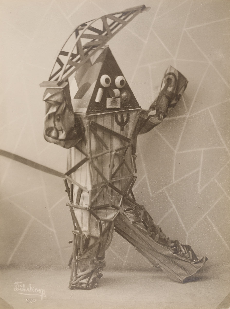 """Dance costumes for """"Technik"""" (1924), black and white positive on silver gelatin paper"""