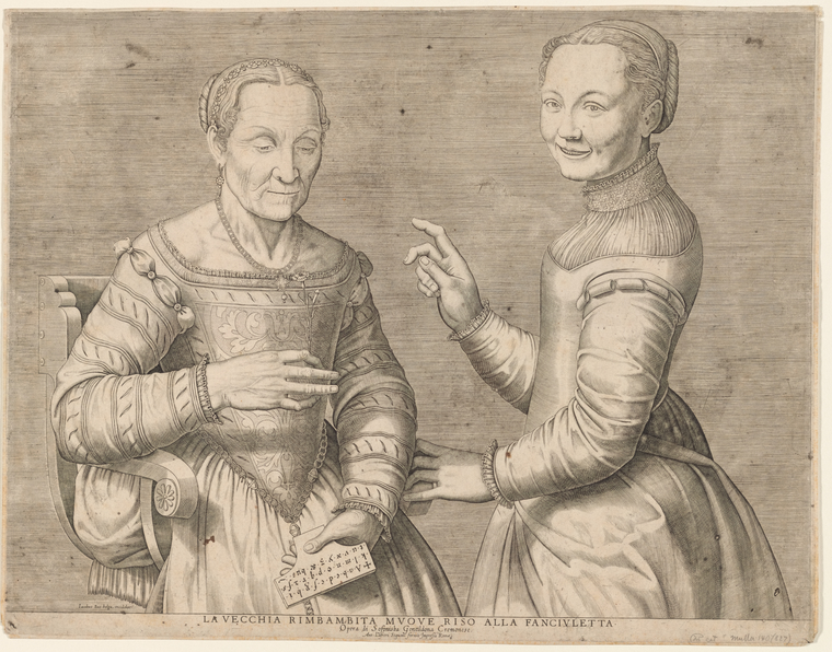 Jacob Bos (Netherlandish, active 1550–80) after Sofonisba Anguissola (Italian, ca. 1532–1625) La vecchia rimbambita muove riso alla fanciulletta (Young girl laughing at the old woman) Engraving, ca. 1550, based on a now-lost drawing by Sofonisba Anguissola, one of the few early modern women artists to get wide recognition