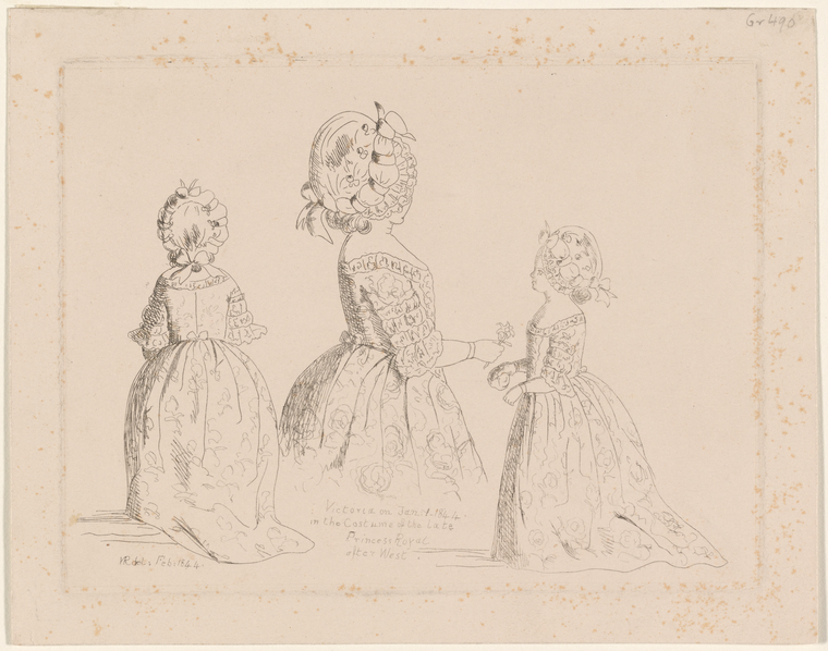 Queen Victoria (British, 1819–1901) Victoria on Jan. 1 1844 in the Costume of the late Princess Royal after West Etching, 1844