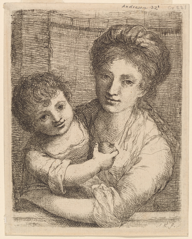 """Angelica Kauffman, """"Half-length Portrait of a Woman, with a Child Holding an Apple"""" (1763), etching"""