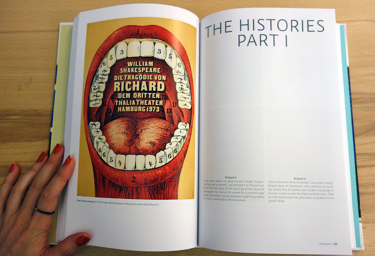 Pages in 'Presenting Shakespeare' (photo of the book for Hyperallergic)