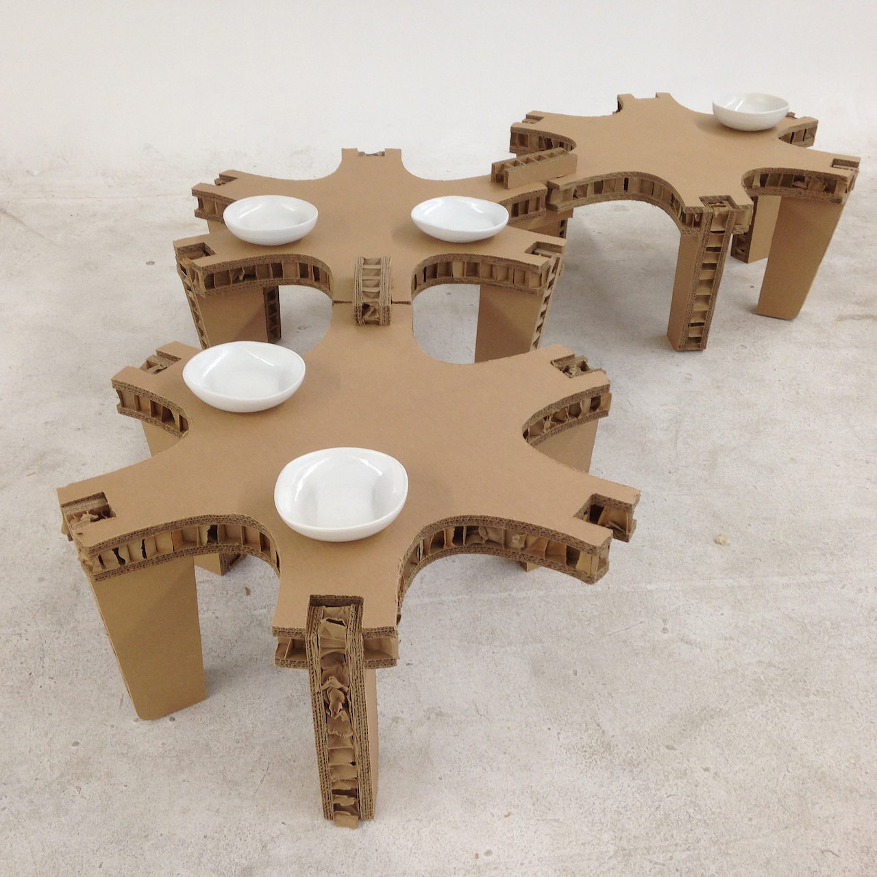 """For the October dinner with bees in Santa Fe, Harris will expand this three-module table into an 18-module """"honeycomb."""""""