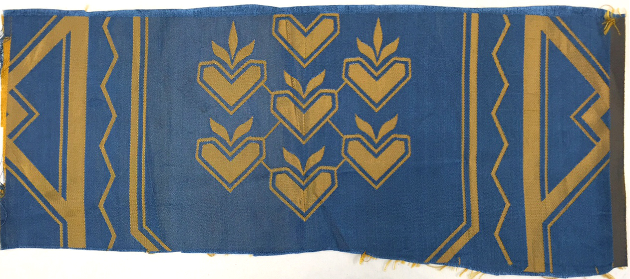 A sample of the textile designed for the United Nations Security Council Chamber, designed by Else Poulsson (1951) (courtesy Cooper Hewitt, Smithsonian Design Museum)