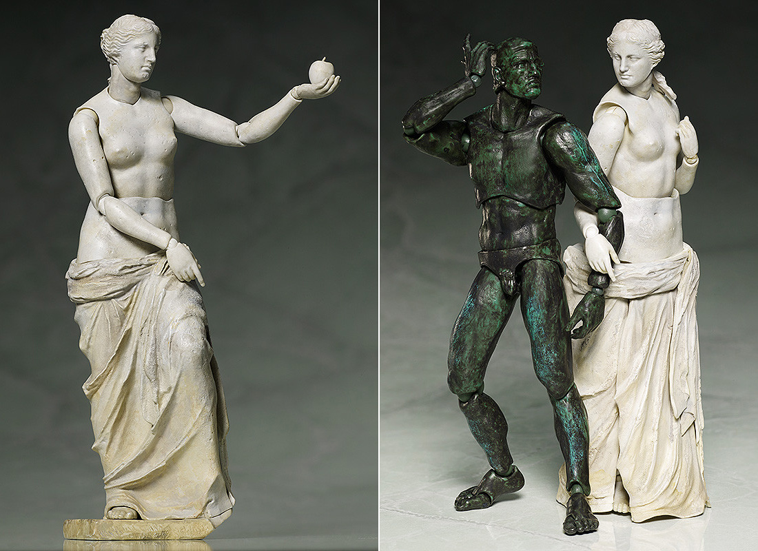 """FREEing's """"Venus de Milo"""" figure holds an apple and links arms with its """"The Thinker"""" figure"""