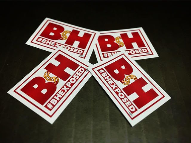 #bhexposed campaign stickers created by Radix Media in support of B&H workers (photo via @radixmedia/Instagram)