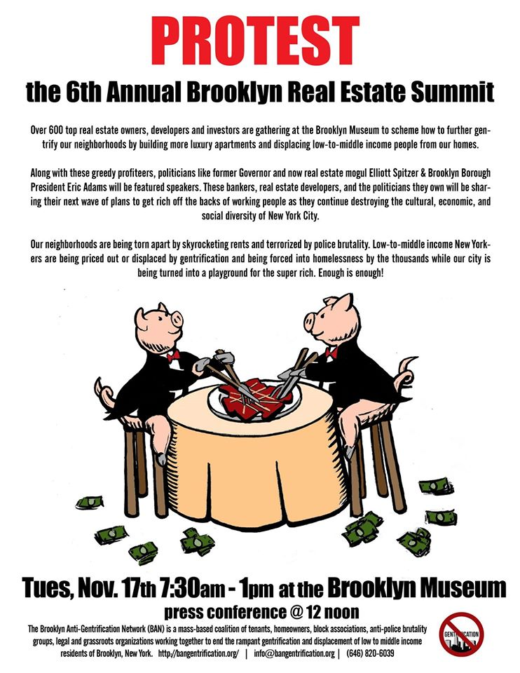 The poster to demonstrate the summit on November 17 (click to enlarge) (image courtesy Brooklyn Anti-Gentrification Network)