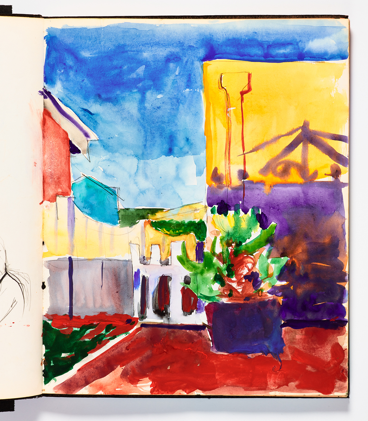 Richard Diebenkorn, Untitled from Sketchbook #17, page 55 (1943–1993), watercolor and graphite on paper, Cantor Arts Center collection, Gift of Phyllis Diebenkorn (© The Richard Diebenkorn Foundation) (click to enlarge)