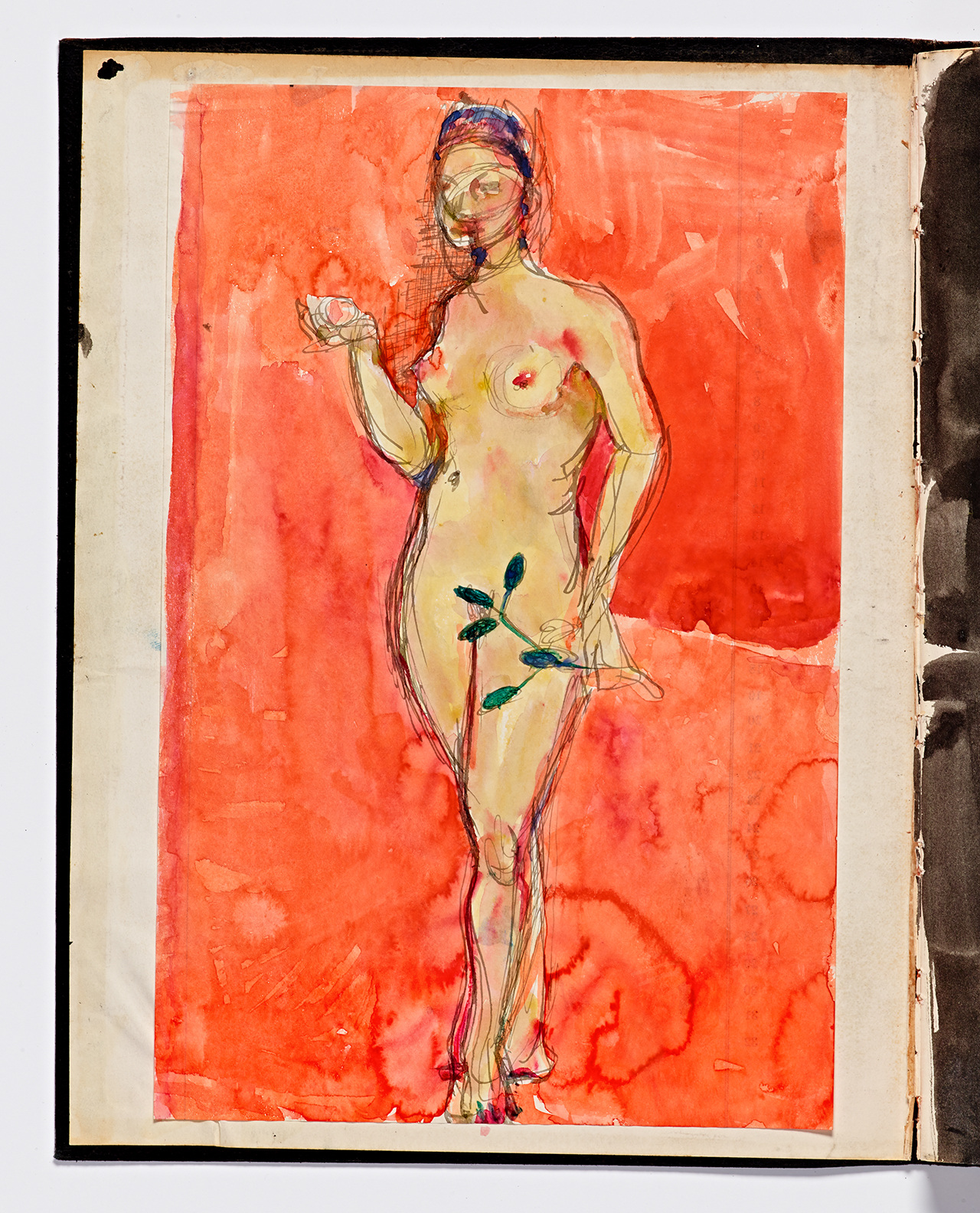 Richard Diebenkorn, Untitled from Sketchbook #24, inside front cover (1943–93), watercolor on paper, Cantor Arts Center collection, Gift of Phyllis Diebenkorn (© The Richard Diebenkorn Foundation)