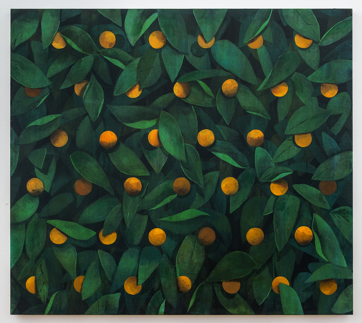 "Ryan Mrozowski, ""Untitled (Orange)"" (2015), acrylic on linen, 50 x 56 in."