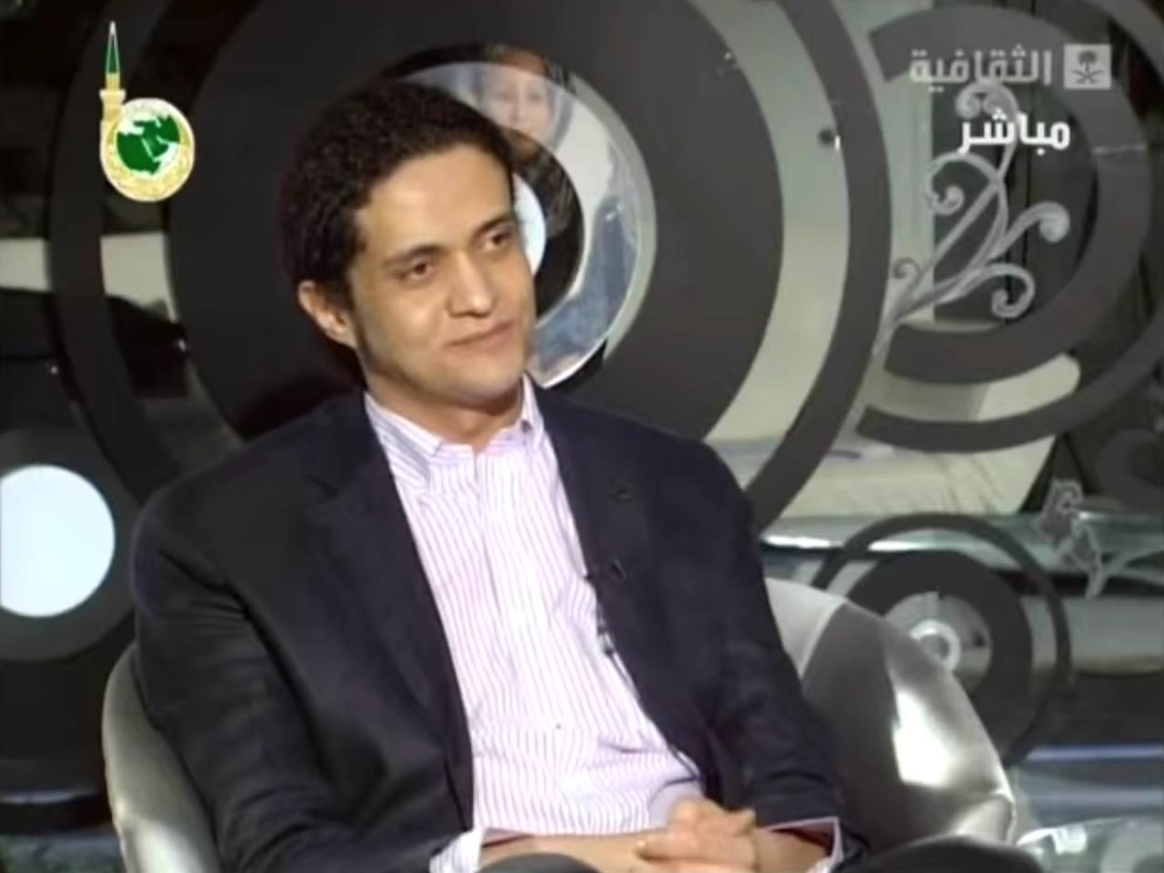 Ashraf Fayadh in a 2013 interview on Saudi television (screenshot via YouTube)