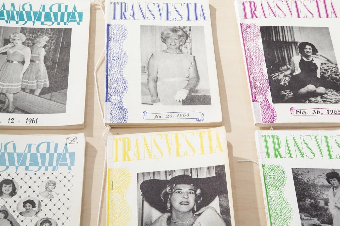 Copies of 'Transvestia' on view in 'Bring Your Own Body' at the Cooper Union (photo by Marget Long, courtesy the Cooper Union)