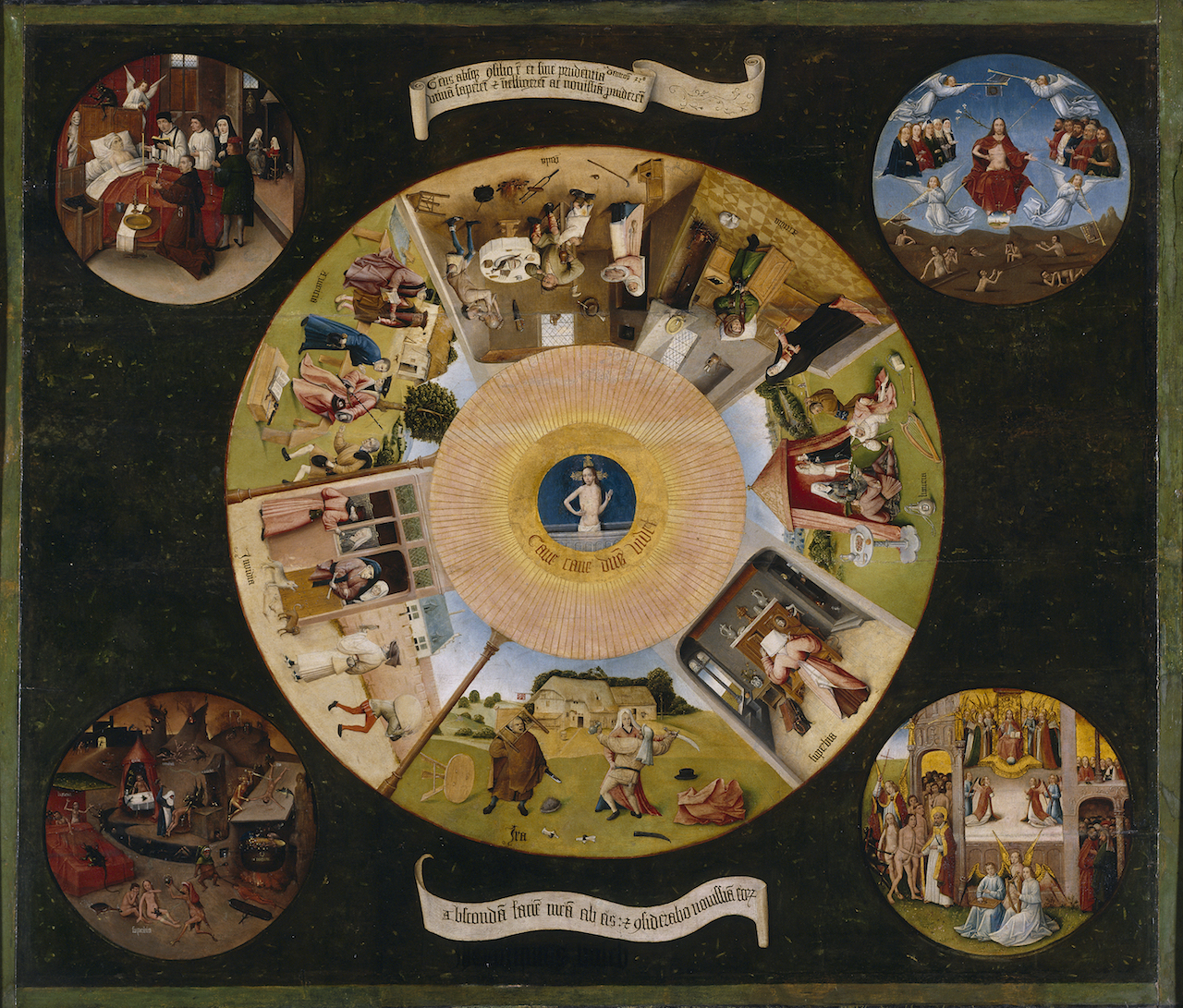"""Follower of Hieronymus Bosch, """"Seven Deadly Sins and the Four Last Things"""" (around 1500) (image via Wikipedia)"""