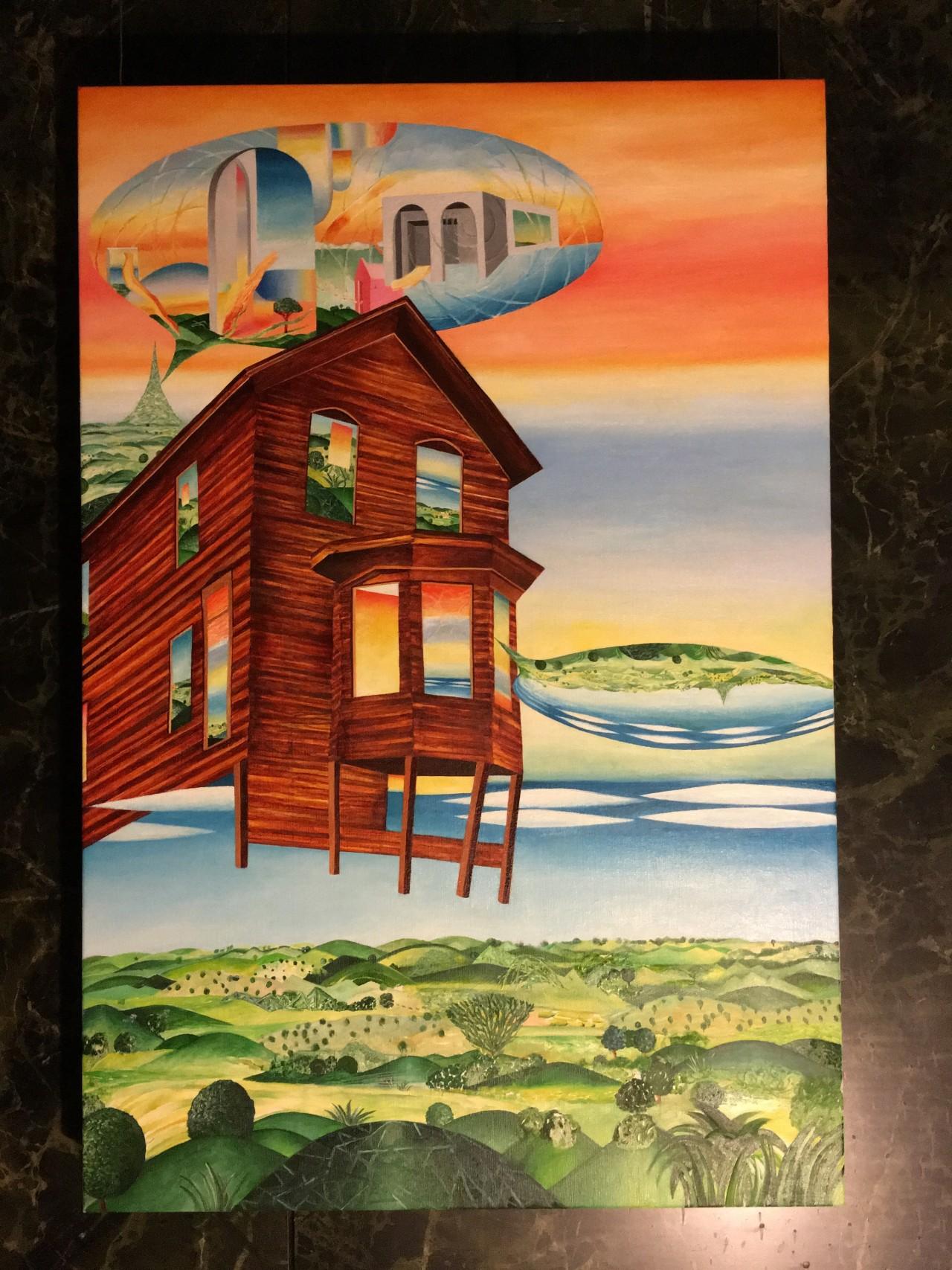 """Antigravity Exterior Crack-up Renovation,"" Oil on canvas"
