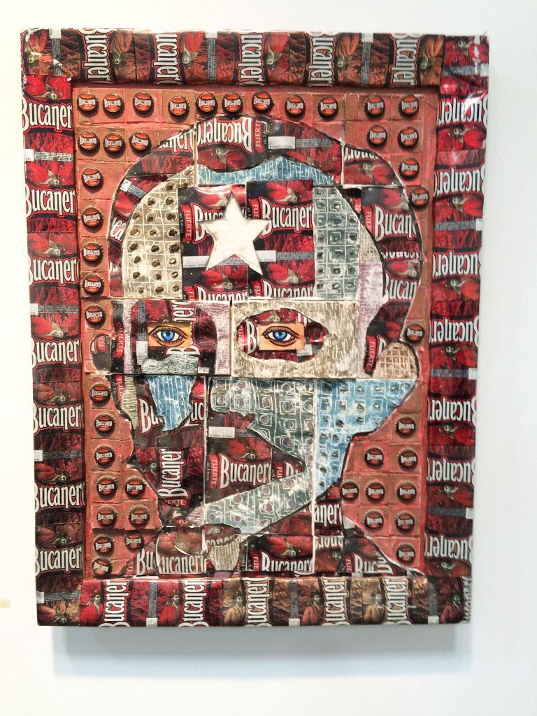 """Joel Jover, """"José Martí"""" (2008), mixed media: Bucanero beer cans, wood"""
