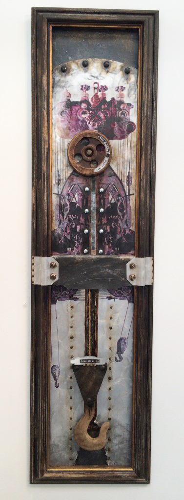 "Dagoberto Dumois Driggs, ""Aparente calma"" (2015), mixed media: materials from old Holguín sugar mills, railroad ties (click to enlarge)"