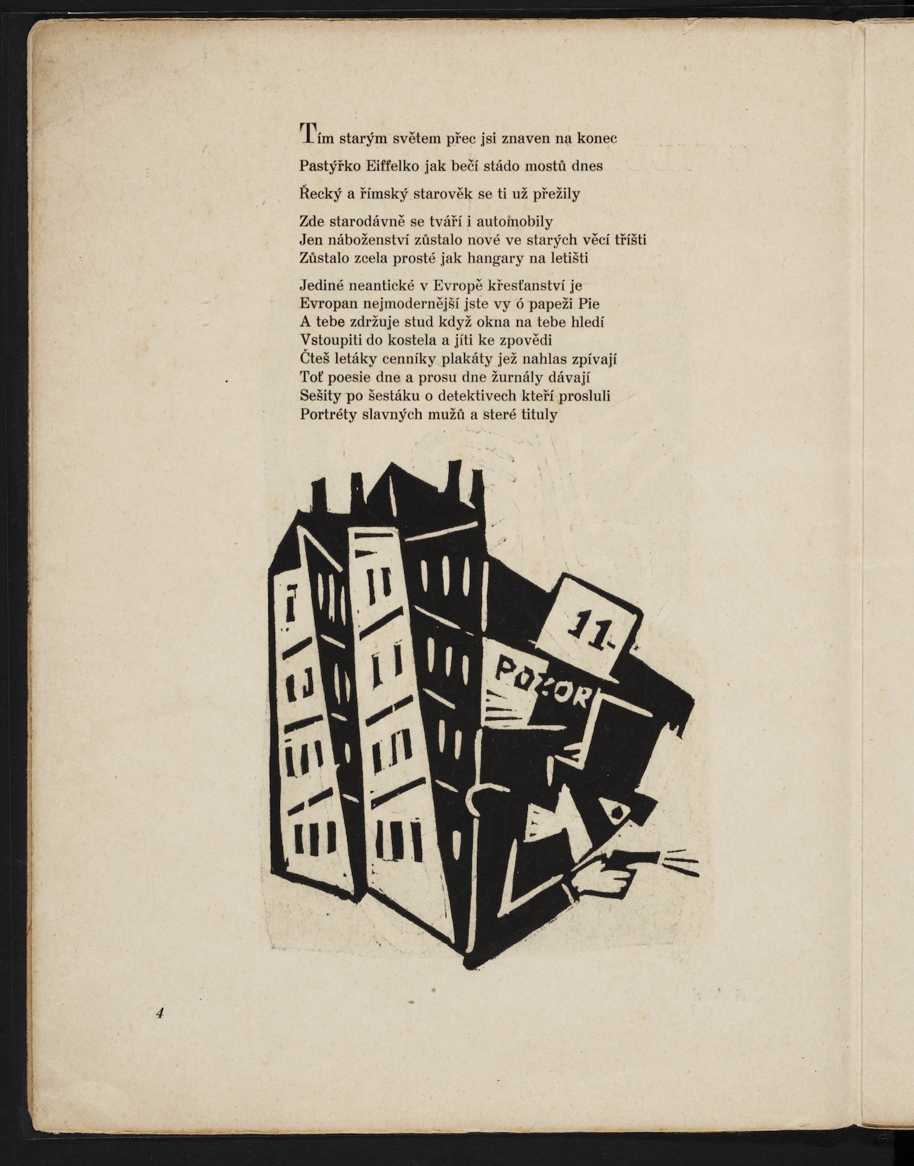 """Josef Čapek, illustration for """"Pásmo (Zone)"""" (1919) by Guillaume Apollinaire"""