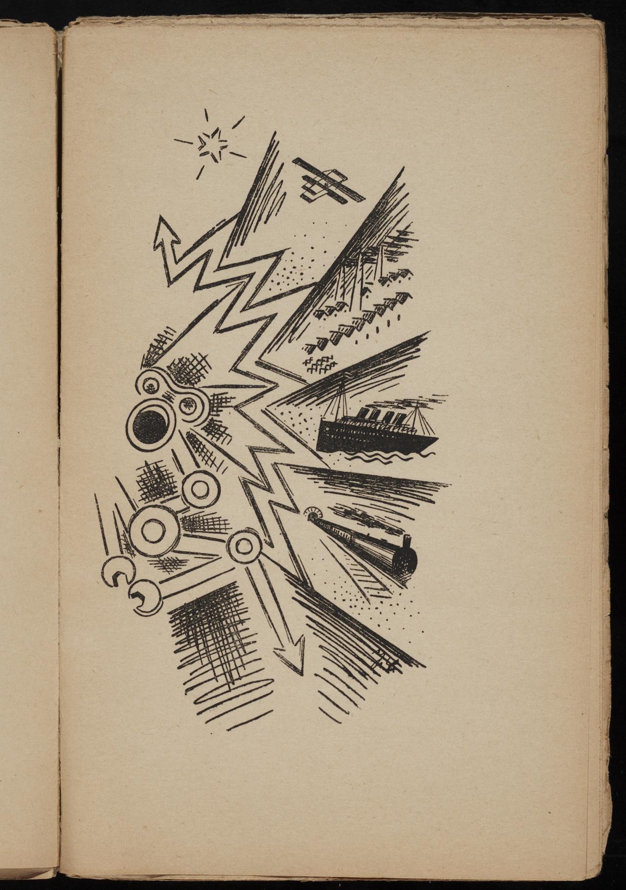 """Josef Čapek, illustration in """"Nové zpěvy : kniha lyrických průbojů"""" (1918) by Stanlislav . Neumann"""