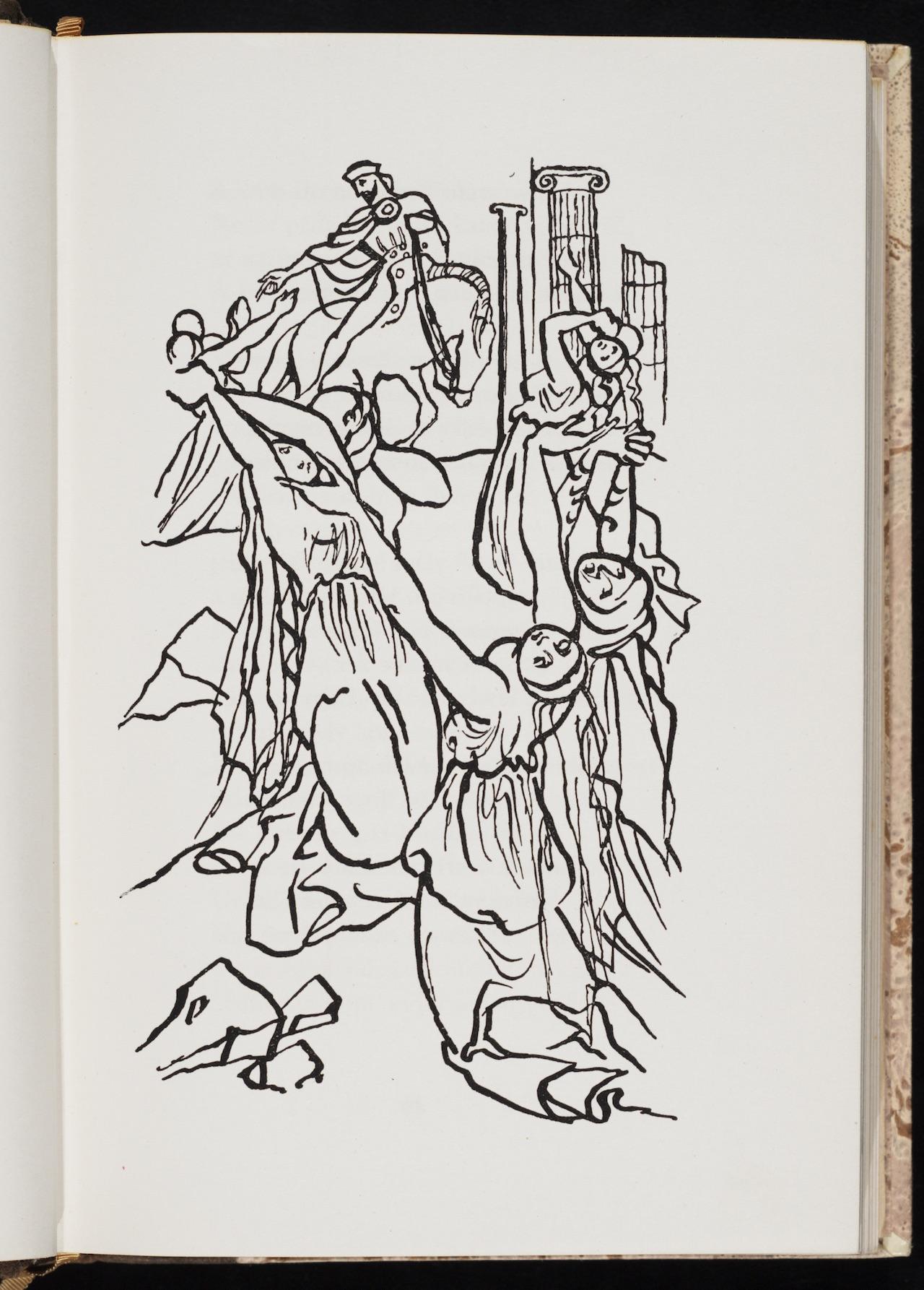 """Karel Svolinský, illustration for """"Canterburské povídky"""" (1941) by Geoffrey Chaucer"""