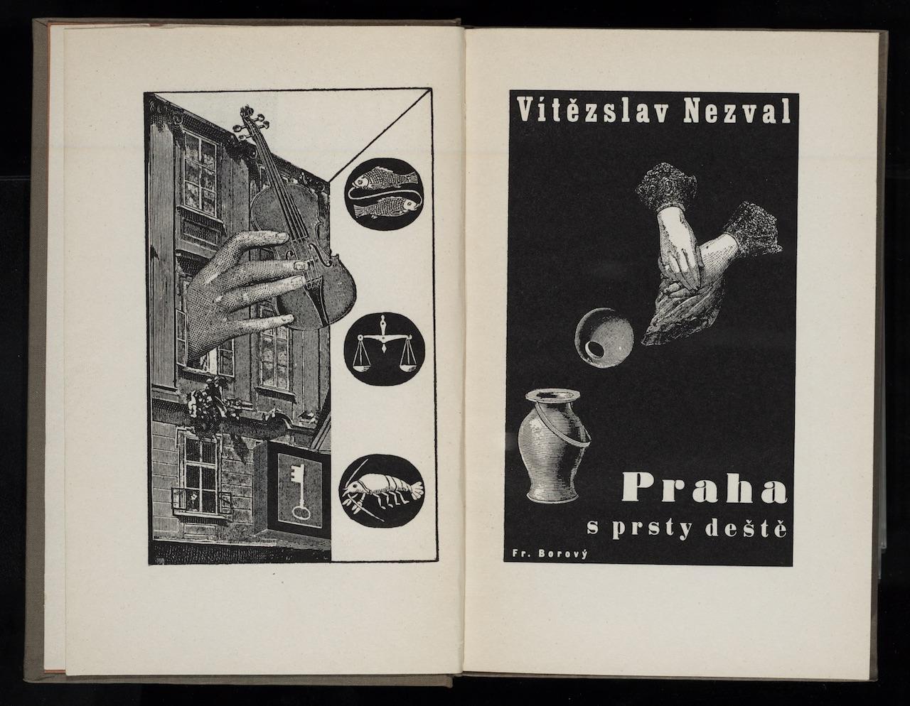 """Karel Teige, illustration for """"Praha s prsty deště"""" (1936) by Vítězslav Nezval"""