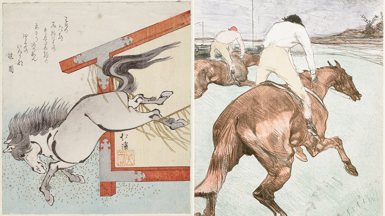 """Left: Totoya Hokkei, Painted horse escaping from votive plaque (1834), woodblock print, ink and color on paper, Museum of Fine Arts, Boston, William Sturgis Bigelow Collection; right: Henri de Toulouse? Lautrec, detail of """"The jockey"""" (1899), lithograph, color on paper, Museum of Fine Arts, Boston, fund in memory of Horatio Greenough Curtis (both photos © 2015, MFA, Boston) (click to enlarge)"""