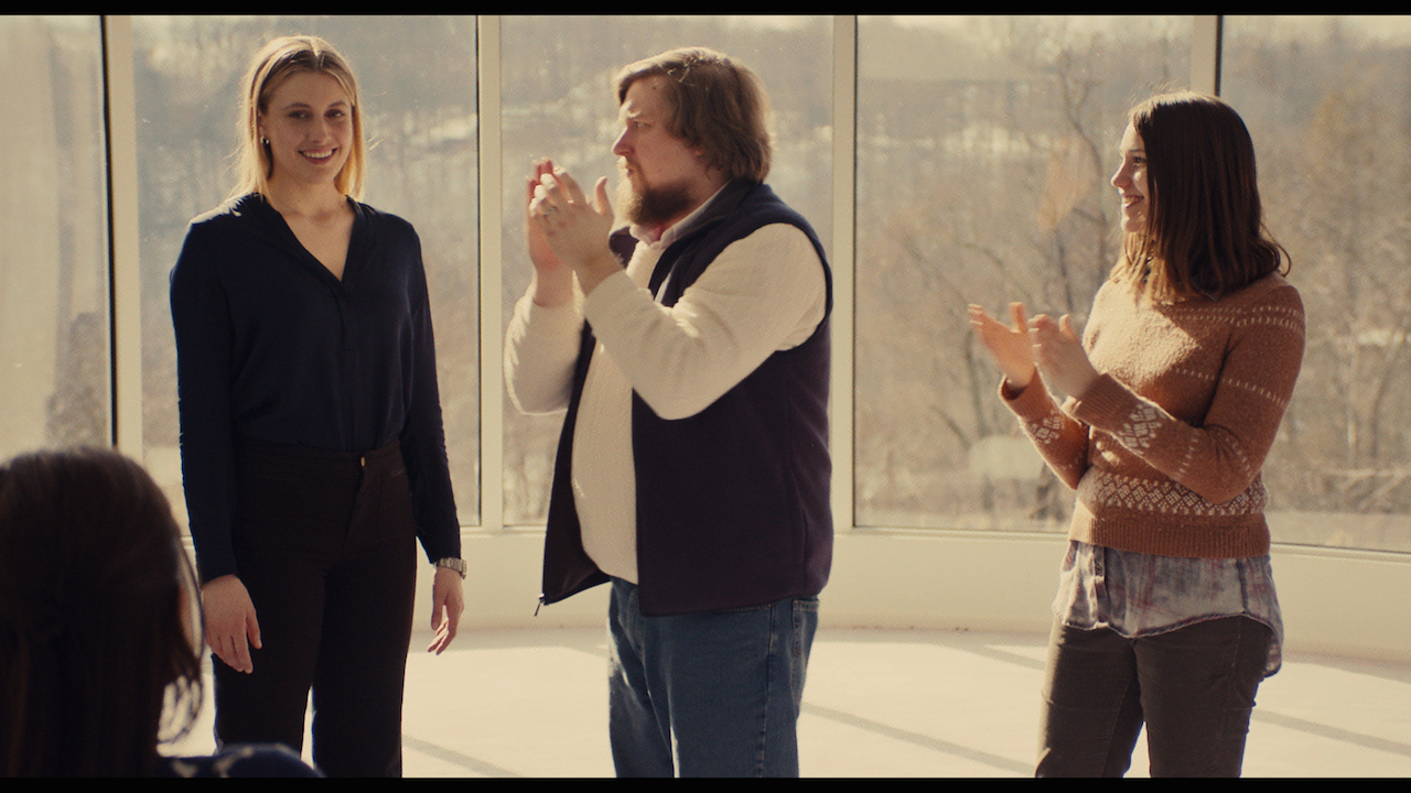 Greta Gerwig as Brooke, Michael Chernus as Dylan, and Lola Kirke as Tracy in 'Mistress America' (photo courtesy Fox Searchlight Pictures, © 2015 Twentieth Century Fox Film Corporation All Rights Reserved) (click to enlarge)