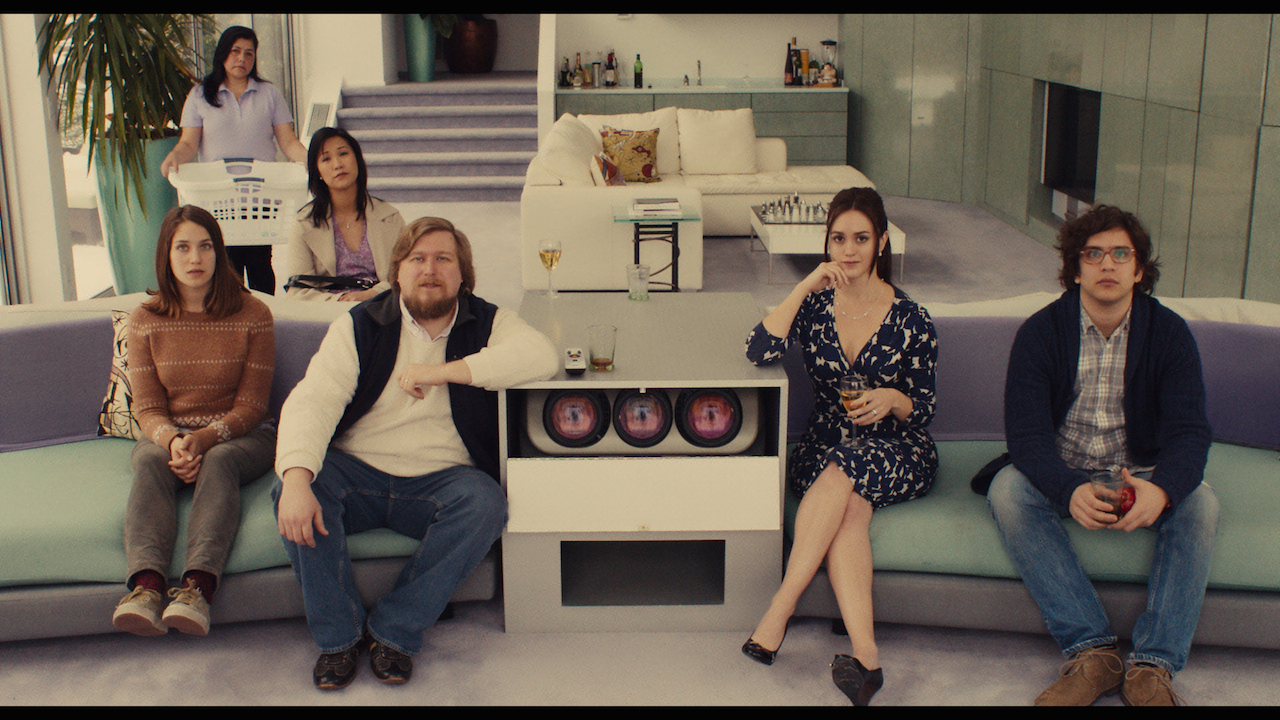 """(L-R) Lola Kirke as """"Tracy,"""" Cindy Cheung as """"Karen,"""" Michael Chernus as """"Dylan,"""" Heather Lind as """"Mamie-Claire"""" and Matthew Shear as """"Tony"""" in MISTRESS AMERICA. Photo courtesy of Fox Searchlight Pictures © 2015 Twentieth Century Fox Film Corporation All Rights Reserved"""
