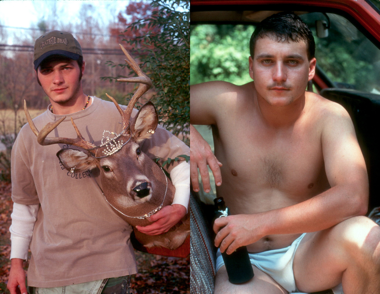 "Michael Meads, ""Drag Stag"" (1996) and ""Aaron at Sulpher Springs"" (1994) (images courtesy the artist)"