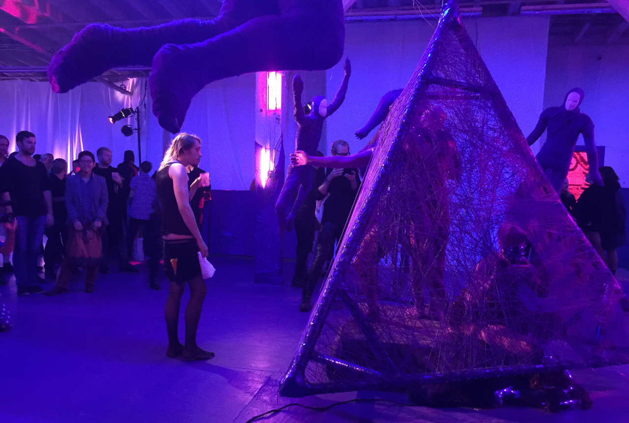 """Performance piece """"Bound Together"""" in progress, by Suzie Hart at MIX NYC 2015."""