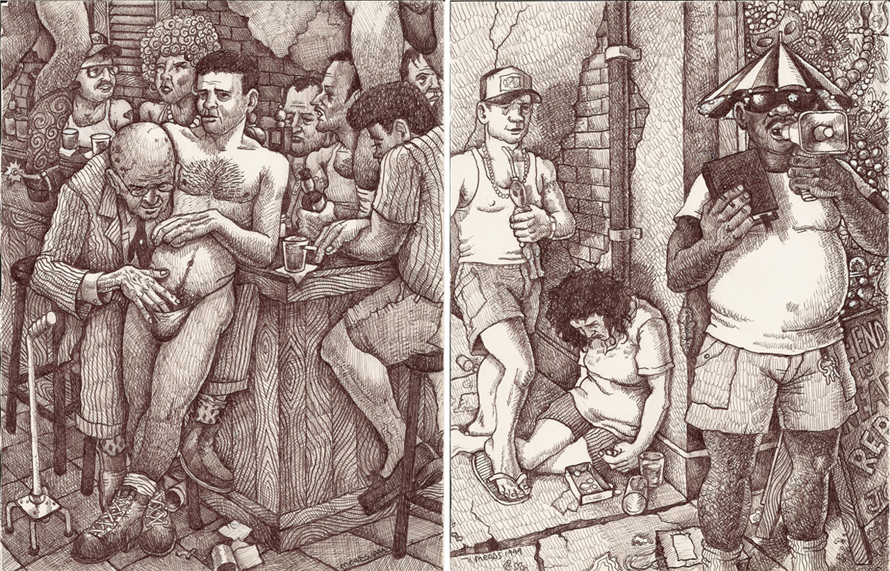 """Michael Meads, """"At the Corner Pocket II"""" (1999) and """"Street Preacher on Canal & Bourbon"""" (1999) (images courtesy the artist)"""