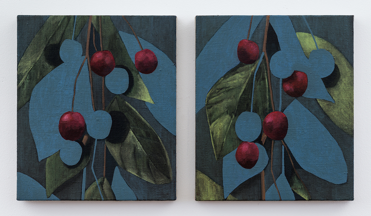 "Ryan Mrozowski, ""Pair (Cherries)"" (2015), acrylic on linen, 14 x 12 in. each"
