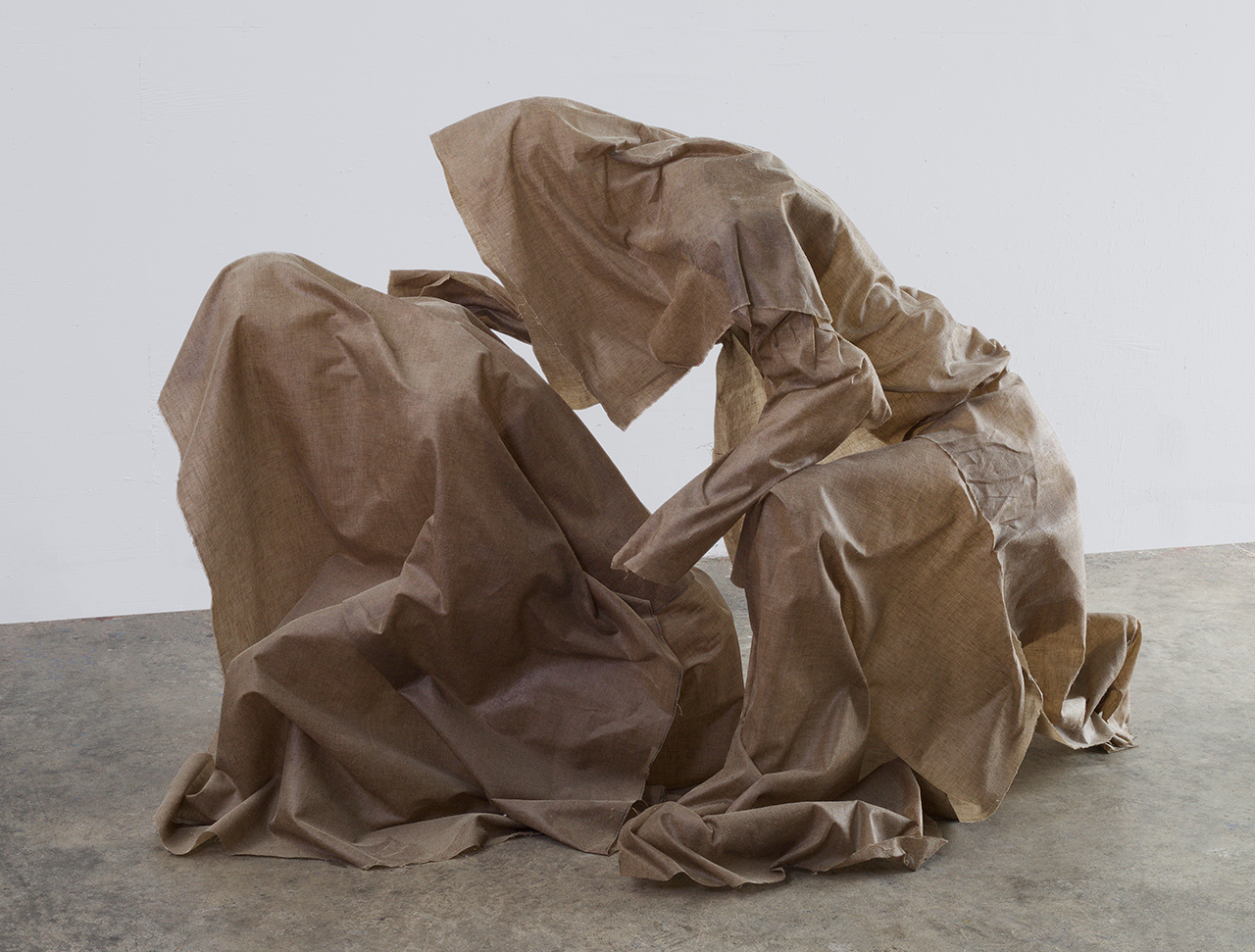 """Robert Morris, """"Maybe They Won't Find Out"""" (2014–15), linen and resin, 46 x 32 x 72 inches"""