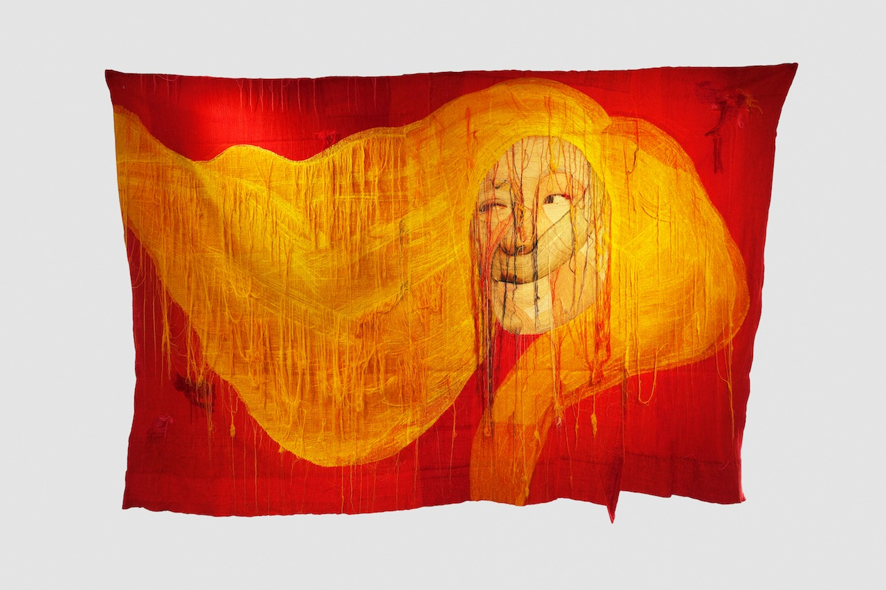 Rag face #14001, 2014 (front), 260 x350cm sewing on photo